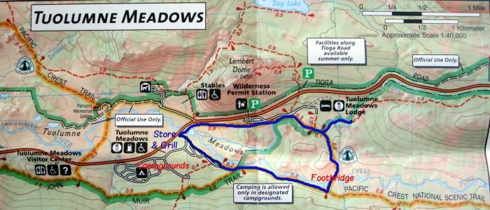 Detail of my Tuolumne Meadows map.