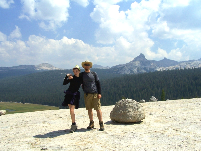 Jay and Maya on top of Pothole Dome. Cathedral Range in the distance. Tuolumne 2012